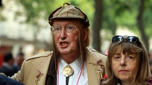 John McCririck and his wife Jenny arriving at the London Central Employment Office