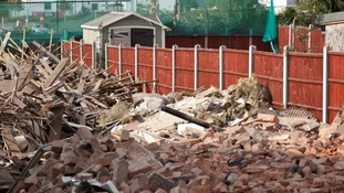 The demolished house