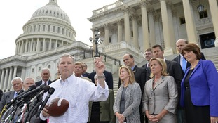 "US Representative Tim Griffin leads a Republican rally calling for the Senate to ""play ball"" and avert a shutdown"