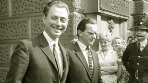 Stephen Ward, the star of the new musical, leaving the Old Bailey during his trial in 1963