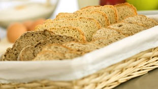 Slices of granary bread.