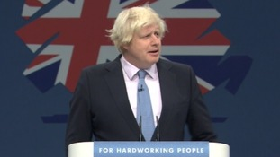 London Mayor Boris Johnson addresses the Conservative Party conference.