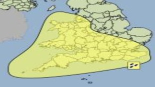 Yellow shaded area showing weather warning for heavy rain