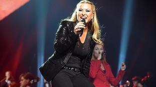 Pop star Anastacia performing in Germany in December 2012