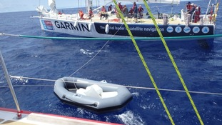 The team transports water from another yacht