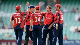 Graham Napier celebrates taking a wicket for Essex