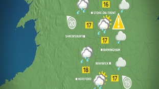 Thursday afternoon weather for the West Midlands.