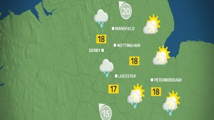 Thursday afternoon weather for the East Midlands.