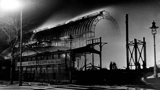 Crystal Palace in 1936 after it was destroyed by fire