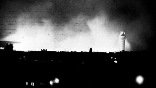Taken ten miles away this image shows the one remaining tower of Crystal Palace still standing during the fire
