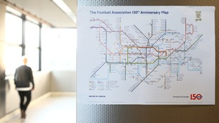 The map marks 150 years for the London Underground and the FA