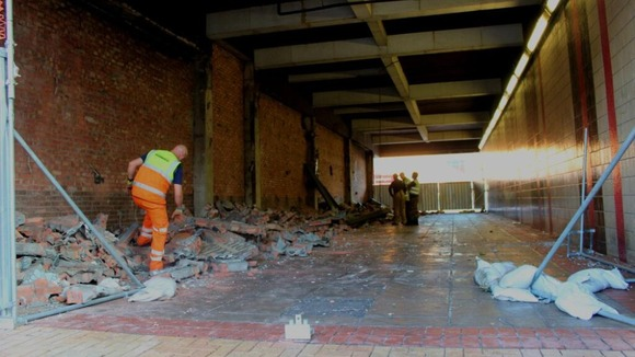 Photo shows demolished newport chartist mural wales for Chartist mural newport