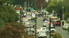 Police cars and officers near the Capitol Building in Washington.