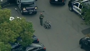 A bomb disposal robot has been seen outside the apartment building in Stamford, Connecticut