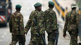 Kenyan soldiers attending the Westgate Mall attack in Nairobi where dozens died, last month.