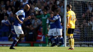 David McGoldrick celebrates scoring against Brighton and Hove Albion.