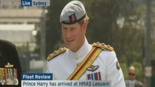 Prince Harry arrives at the HMAS Leeuwin before embarking on the vessel.