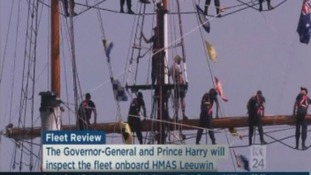 Crew members on the HMAS Leeuwin.