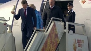 The Olympic flame arrived in Moscow this afternoon.