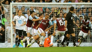 Winston Reid scores the opening goal of the game against Tottenham Hotspur on Sunday