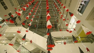 Installation of Christmas decorations at John Lewis on Oxford Street