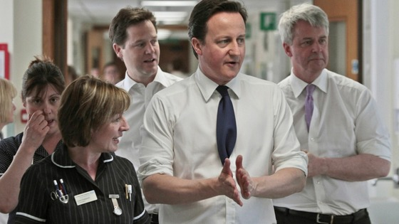 David Cameron, Deputy Prime Minister Nick Clegg, and Health Secretary Andrew Lansley during their visit to Frimley Park Hospital