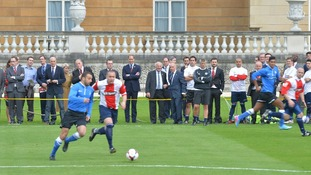 The Duke of Cambridge, president of the FA watches from the sidelines