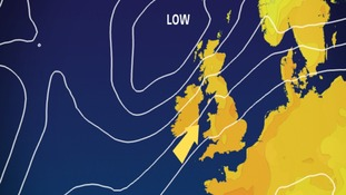 pressure and wind chart for Monday