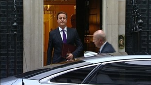 David Cameron leaving Downing Street a short while ago.