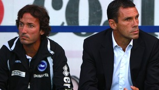 Gus Poyet (right), was sacked from his post as Brighton and Hove manager in June.