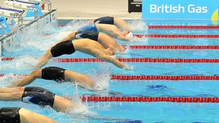 The start of the Men's 100m Backstroke during the British Gas Swimming Championships at the Aquatics Centre in the Olympic Park, London.