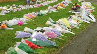 Floral tributes left to the victims of the Harlow house fire