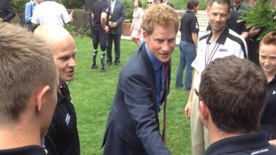 Prince Harry meets with British and US wounded warriors at the British Embassy in Washington