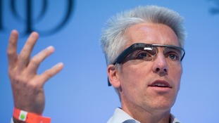 Google's UK managing director Dan Cobley, wears 'Google Glass' during a Q&A session