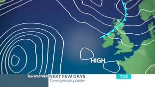 Pressure chart today shows High Pressure to the SW