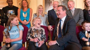 "David Cameron shares a joke with Hull's ""Bee Lady"" Jean Bishop"