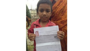 Seven-year-old Rubel's father died in the Dhaka factory collapse