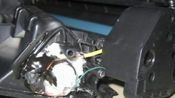 The explosive material hidden inside a printer cartridge inside a cargo plane in 2010.  