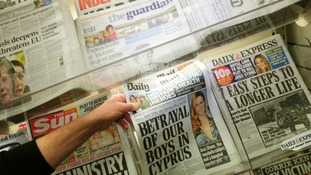 File photo of newspapers being sold in a shop.
