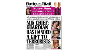The Daily Mail has blasted the Guardian over the Edward Snowden leaks.