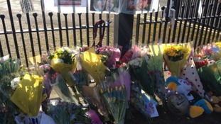 Tributes left outside Wilmslow High School for Hannah Thomas - Jones