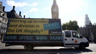 Human rights group Liberty hit back at the Home Office campaign with their own campaign poster