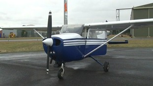A view of the Cessna 172 light aircraft which the passenger landed at Humberside Airport.