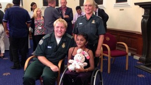 Thusha Kamaleswaran is reunited with the two paramedics who were first on the scene.