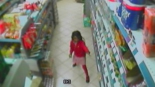 A CCTV image of Thusha dancing through the aisles of her uncle's grocery store before she was shot.