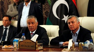 Libya's Prime Minister Ali Zeidan addresses a news conference after his release.