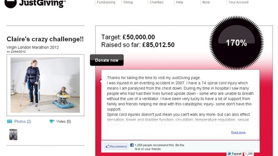 Claire Lomas&#x27; JustGiving page