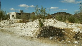 The site of a mass grave in the Sleibeh al-Hamboushieh hamlet near Latakia.