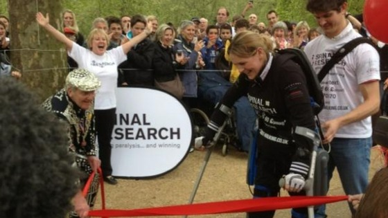 Claire Lomas approaches the finish line of the 26.2 mile course