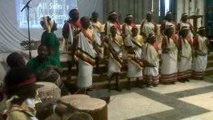 A choir performed during the 10th anniversary celebrations.